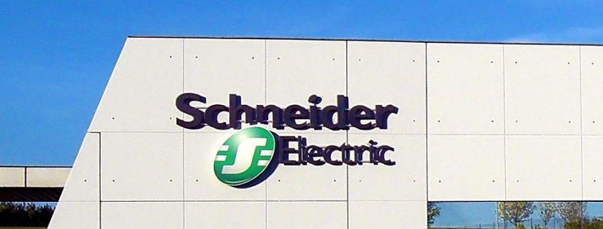 Schneider Electric logo on factory